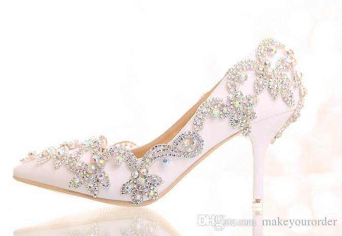 무료 배송 화이트 크리스탈 다이아몬드 신부 하이힐 웨딩 드레스 신발 뾰족한 샌들 섹시한 여성 신발 (361)