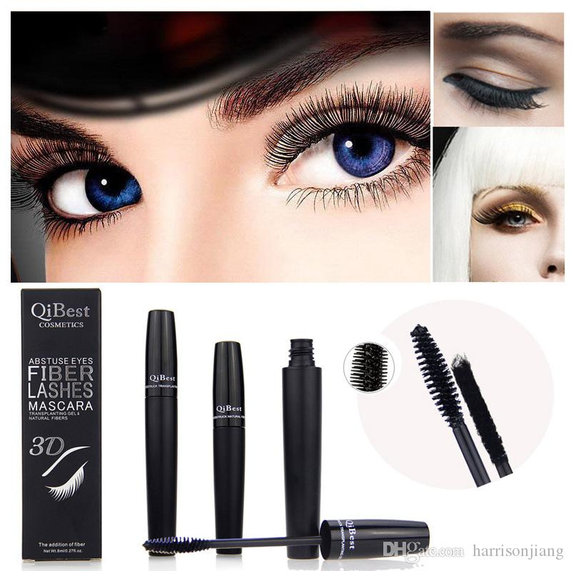 d005f36c658 Qibest 3D Fiber Lashes Mascara Black Eyelashes Transplanting Gel and  Natural Fibers Best Lengthening Thick Makeup Mascara Set