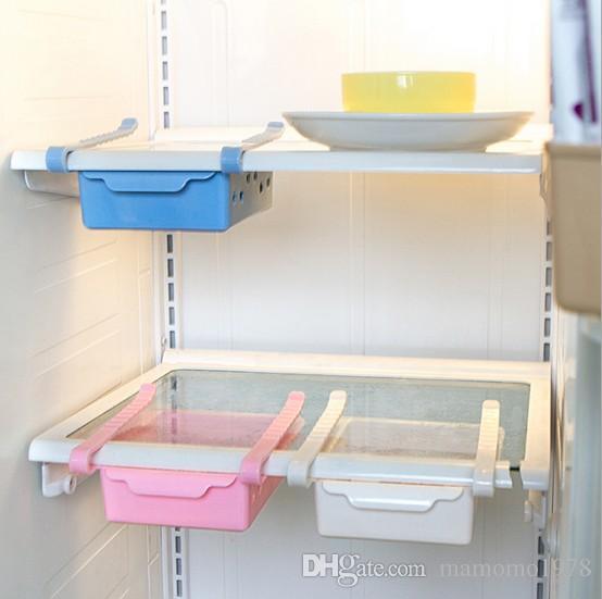 1PC 새로운 크리 에이 티브 스토리지 박스 플라스틱 냉장고 스토리지 랙 냉장고 냉동고 선반 홀더 끌어 오기 서랍 주최자 KX 321