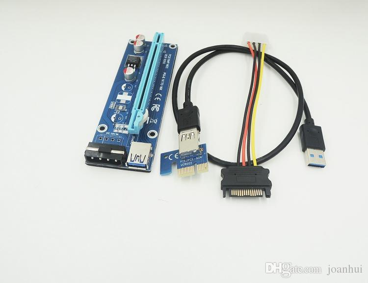 شحن مجاني PCI-E Express 1X إلى 16X USB 3.0 Riser Card with USB 3.0 Extender Cable Power Supply SATA Cable