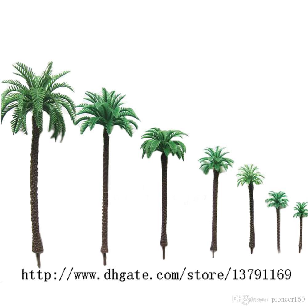 14pcs Demiryolu Manzara Minyatür Düzen Modeli Plastik Yeşil Palmiye Ağaçları Hindistan cevizi Modeli 01:50 Ölçek 1.9 inç
