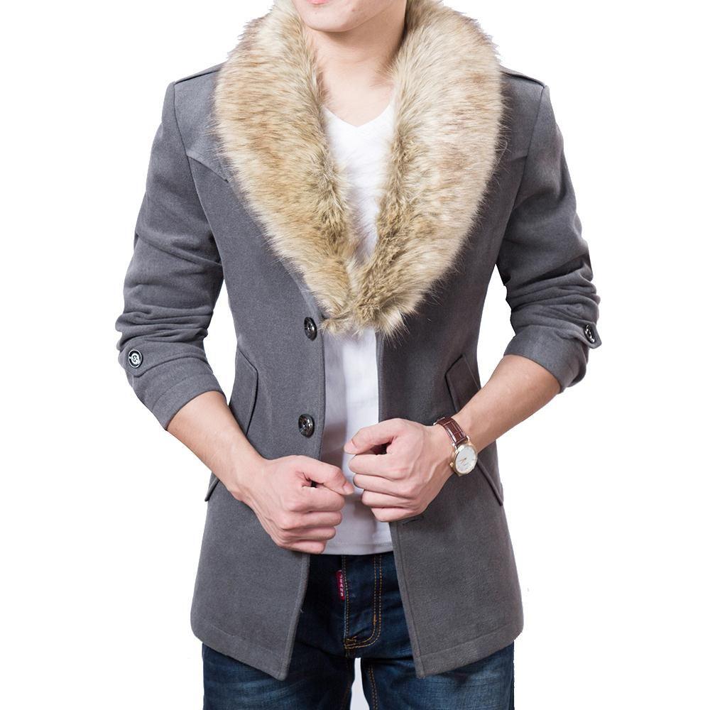cappotto Gli uomini di trincea di inverno caldo di spessore di lana si fondono cappotto soprabito Pea Mens sottili faux cappotto di lana collo di pelliccia blu della nave di goccia nero rosso
