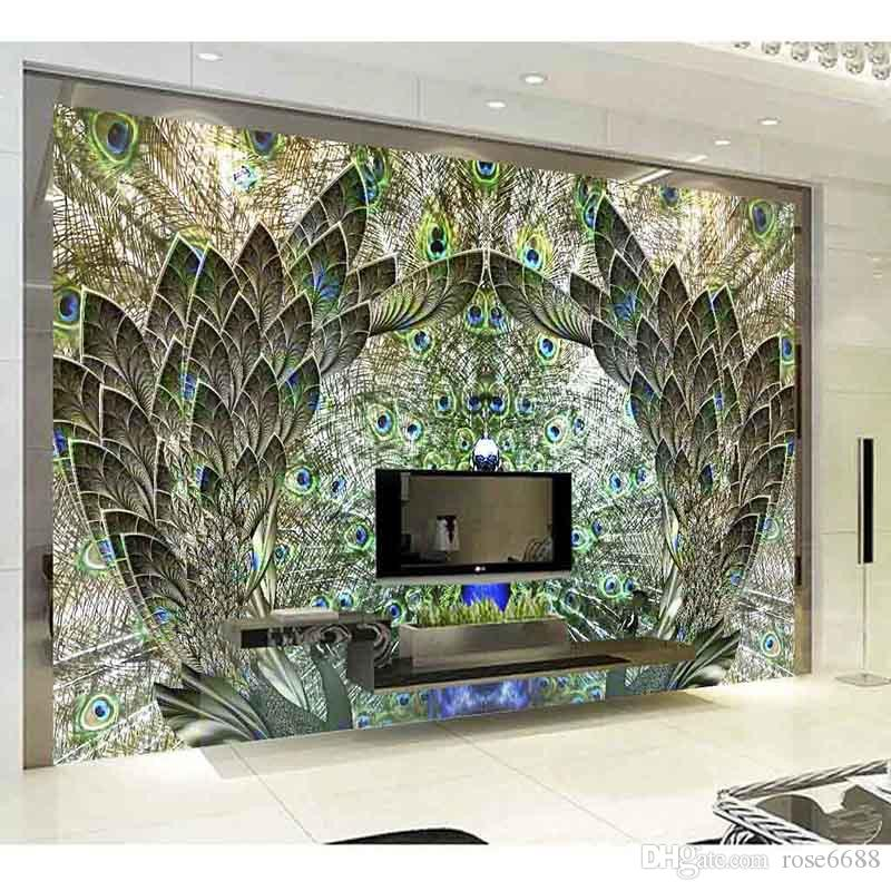 fashion 3d home decor beautiful top classic 3d european style peacock wallpaper 3d wall papers for - 3d Home Decor