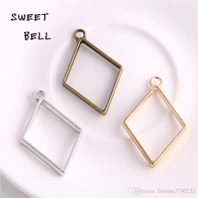 Min order 30pcs 26*40mm Alloy jewelry setting accessories rhombus charms Hollow glue blank pendant tray bezel charms DIY Handmade D6098-1