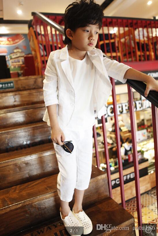 Yeni varış! Özel yeni çocuk giyim tarzı bahar çocuk yakışıklı takım elbise çiçek takım elbise 2 parça (ceket + pantolon) sipariş için yapılan