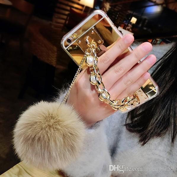 For Samsung galaxy j3 j5 j7 a5 a7 2017 2018 prime Emerge Luxury pearl Chain Tassel fox puff pompoms fur ball soft mirror case cover
