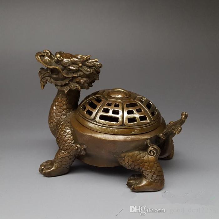 Antique Collection Folk Art Chinois en laiton sculpté à la main Dragon tortue brûleur d'encens