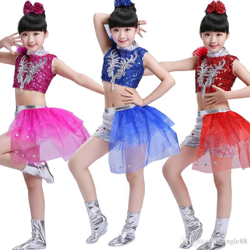 2019 Children Ballroom Hip Hop Performance Clothing Sets Boys Girls Jazz  Modern Dance Costumes Kids Sequins Dancewear Suits From Gingle88, $18.09