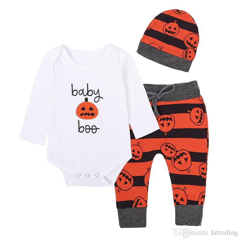 Bambino di Halloween abiti 3pc s3pc imposta cappello della zucca a strisce bianche + romper + pants infnats zucche banda ins abbigliamento Holloween caldo bambino abbigliamento