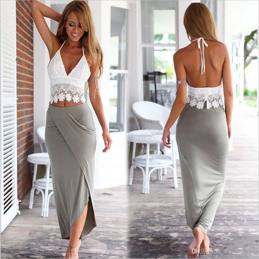 여자 여름 드레스 여행 비치 화이트 레이스 조끼 허리 드레스 두 조각 슈트 ouc225 DHL