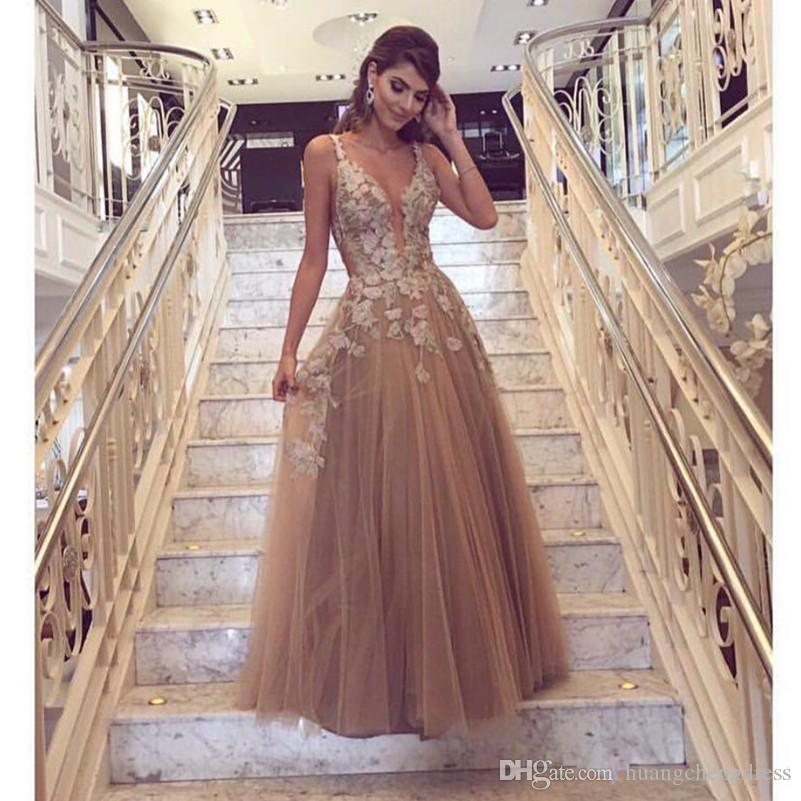 champagne lace prom dresses
