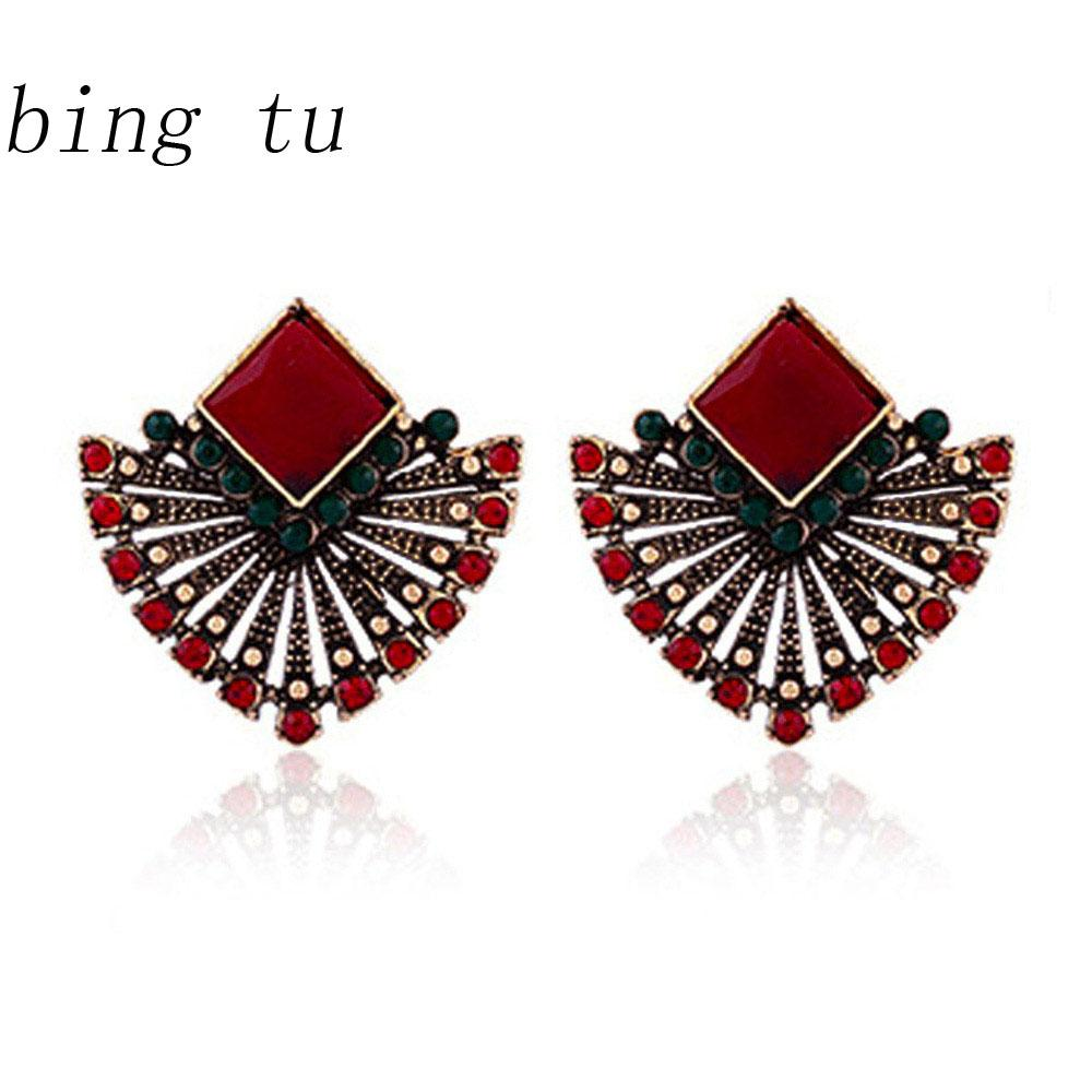 Elegant Gold Plated Black Resin Square Ethnic High Quality Earrings Jewelry Gift