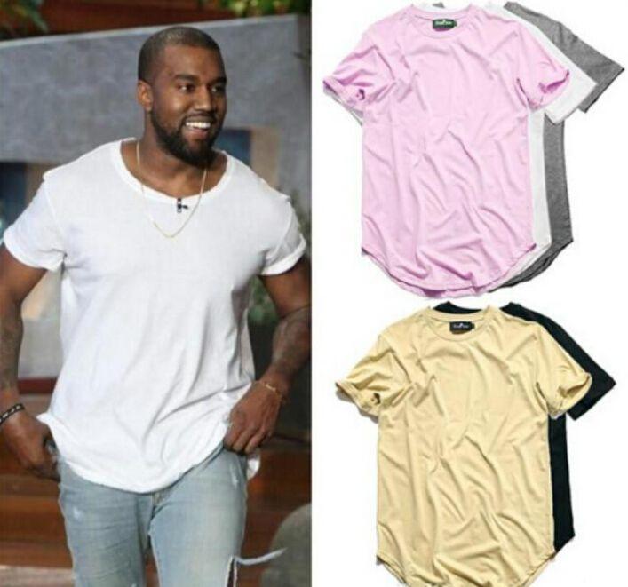 Abgerundeter Saum Hip Hop-T-Shirt Männer Städtische Kpop Erweitern T-Shirt Plain Longline-Männer T Shirts Männerkleidung