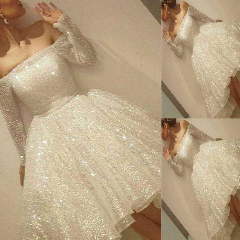 Yeni Geliş Beyaz Shine Kısa Mezuniyet Elbiseleri Payetler Omuz Uzun Kollu Parti Elbise İnce Şerit A-Line Kokteyli Elbise Kapalı