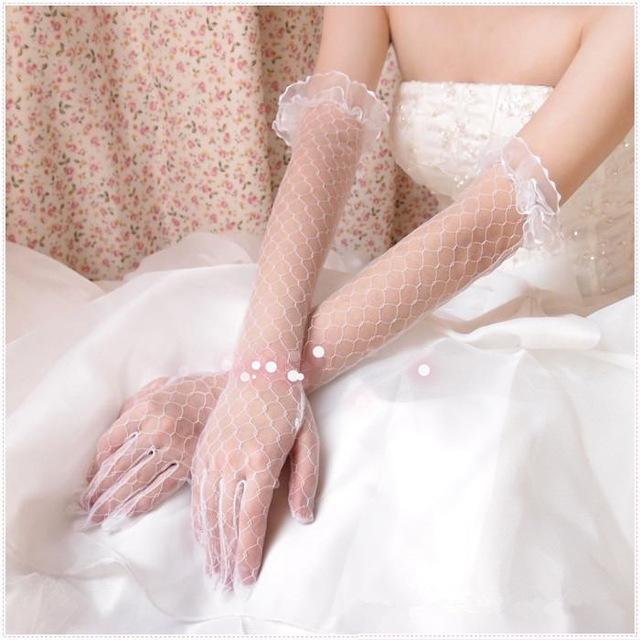 High Quality Handmade Elegant White Bridal Veils Long Wedding Gloves Women With Finger Luva Para Casamento