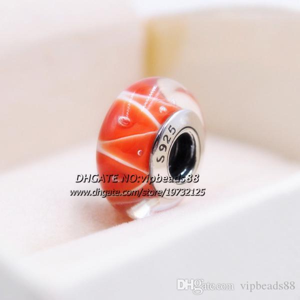 S925 Gioielli in argento sterling Triangolo rosso charms in vetro di Murano Misura perline Bracciali europei fai da te in argento