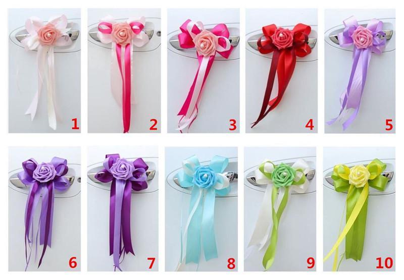 Toptan-10 Renk seçmek için 4 adet Düğün Araba Dekorasyon Düğün Çiçek Araba Kapı Kolları ve Dikiz Aynası Dekorasyon düğün malzemeleri