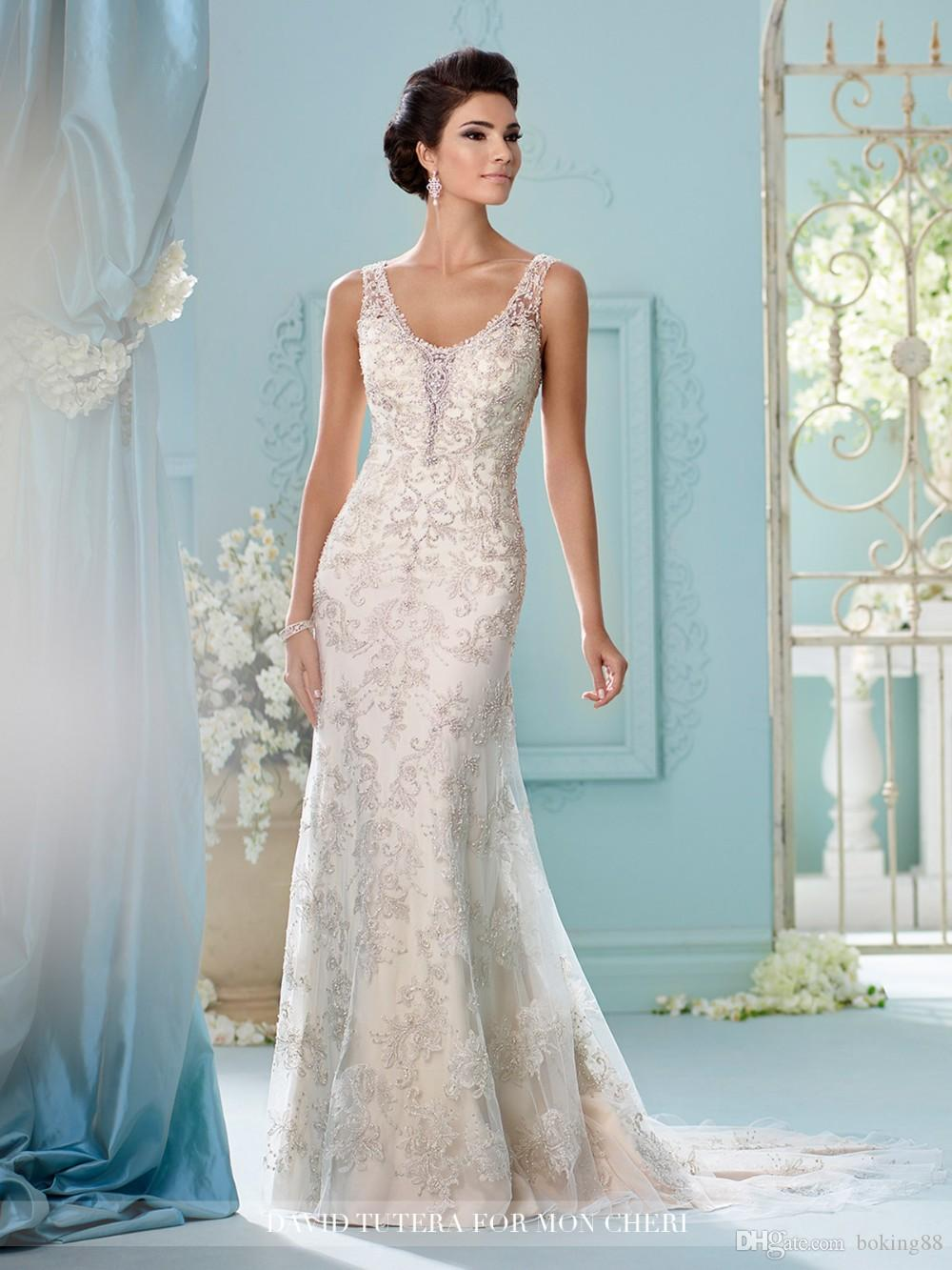 Tulle Over Satin Sheath Wedding Dresses All Over Hand Beaded ...