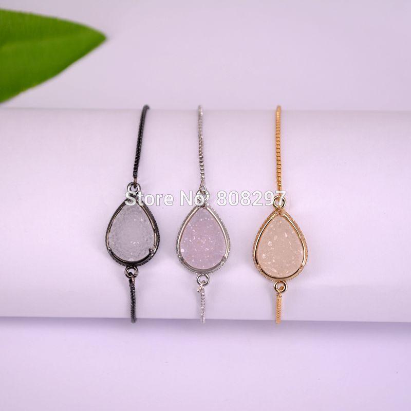 10Pcs Mixed Color Drop Shape Druzy Quartz Stone Connector Bead charm adjustable chain Macrame bracelet