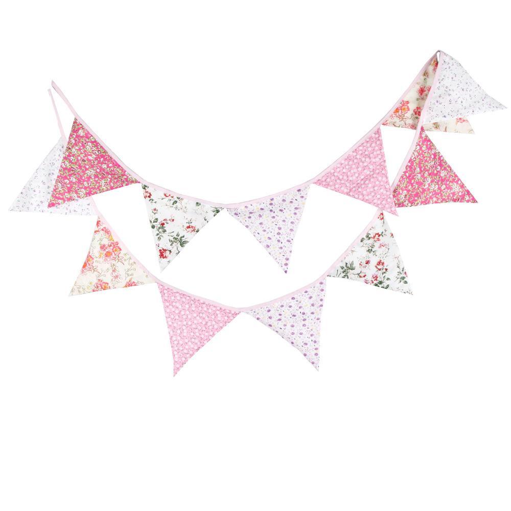 Al por mayor- Nuevo 12 Banderas - 3.2M Banners de tela de algodón Pink Bunting Decor Baby Shower Garland Decoración de fiesta de cumpleaños del empavesado del jardín