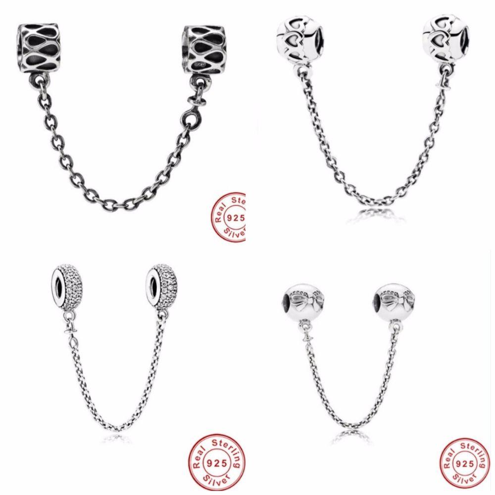 Изысканные ювелирные изделия Аутентичные 925 стерлингового серебра из бисера Fit Pandora Шарм Pave Inspiration Кристалл безопасности цепи бисер бусины
