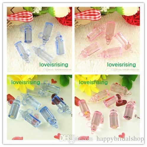 200 unids / lote Mini Tamaño 28 * 11mm Acrílico Rosa Claro / Azul Color Botellas de Bebé Para Favores de Baby Shower ~ Encantos Lindos ~ Decoración de fiesta