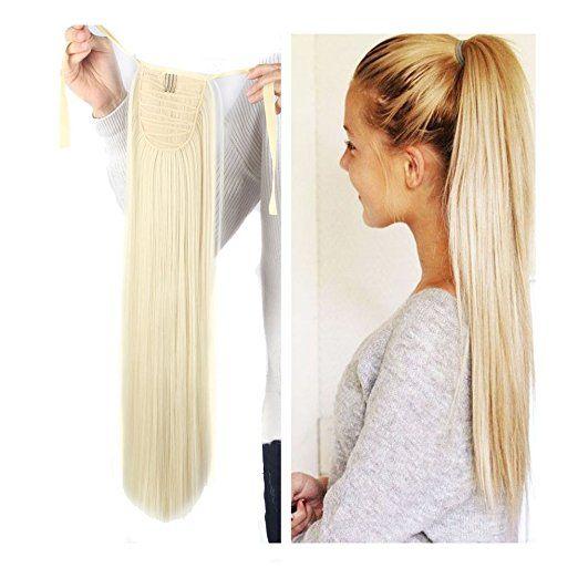 Groothandel - Braziliaanse menselijke haarclip in extensies Paardenstaart, 613 # lichtblonde 80g / stuks zeer eenvoudige Paardenstaart Clip Hair Extensions