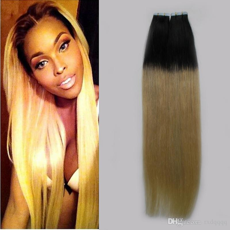 Ombre tape in hair extensions 100g 40pcs Straight #1B/613 tape in human hair extensions Ombre human hair extension blond