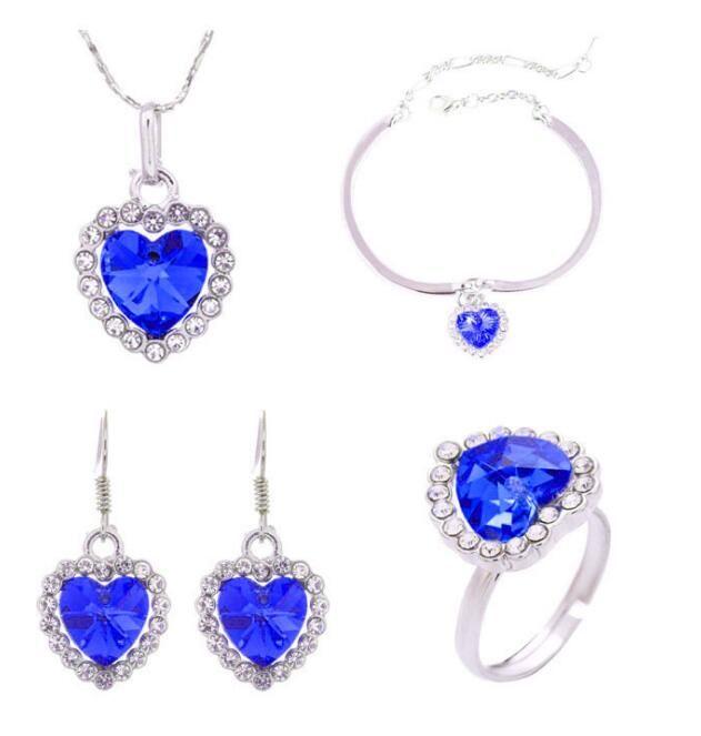 Fashion 18K White Gold Plated Swarovski Crystal Ocean Heart Necklace Bracelet Earrings Ring Jewelry Set for Women Wedding Sets 4pcs/Set