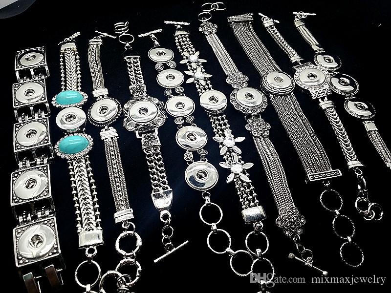 All'ingrosso 10 pezzi Mix assortiti di donne Ginger 18mm con bottoni a pressione con bottoni a pressione argento antico catena d'argento bracciali