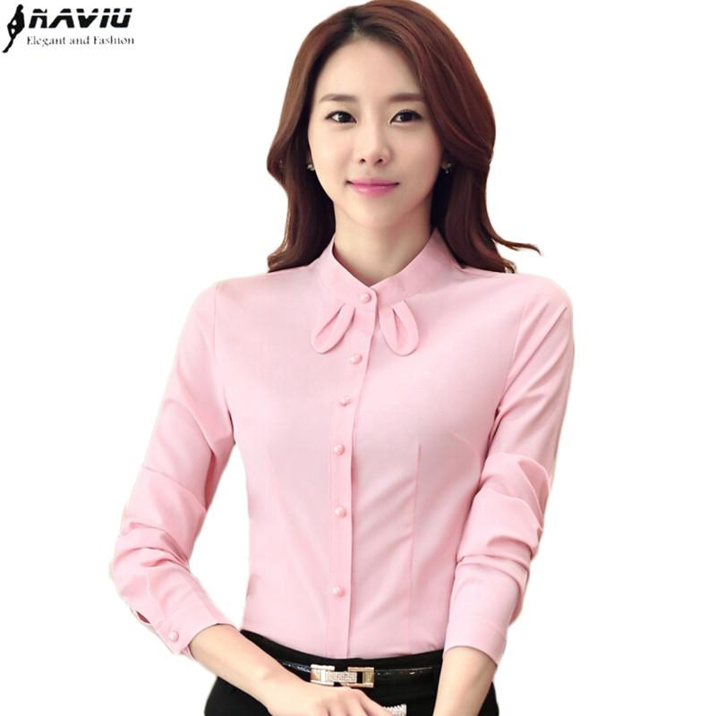 b1f9da84b61 2016 autumn stand collar long-sleeve shirt female formal fashion slim bow  chiffon blouse office ladies work wear plus size tops