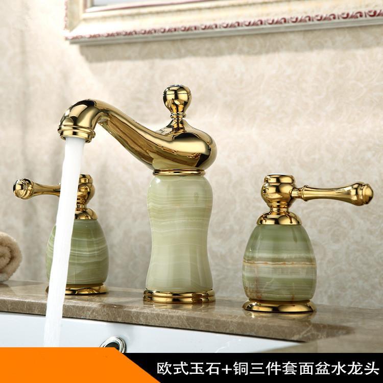 Yeni varış yüksek kaliteli altın bitmiş lüks yaygın banyo lavabo bataryası pirinç ve Yeşim havza musluk, dokunun mikser
