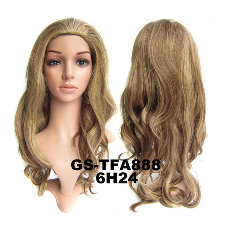 "22 ""(55 cm) 1 pezzi 200 g 4 colori onda lunga capelli sintetici pad moda negro 3/4 mezza parrucca Rambut peluca peruca"