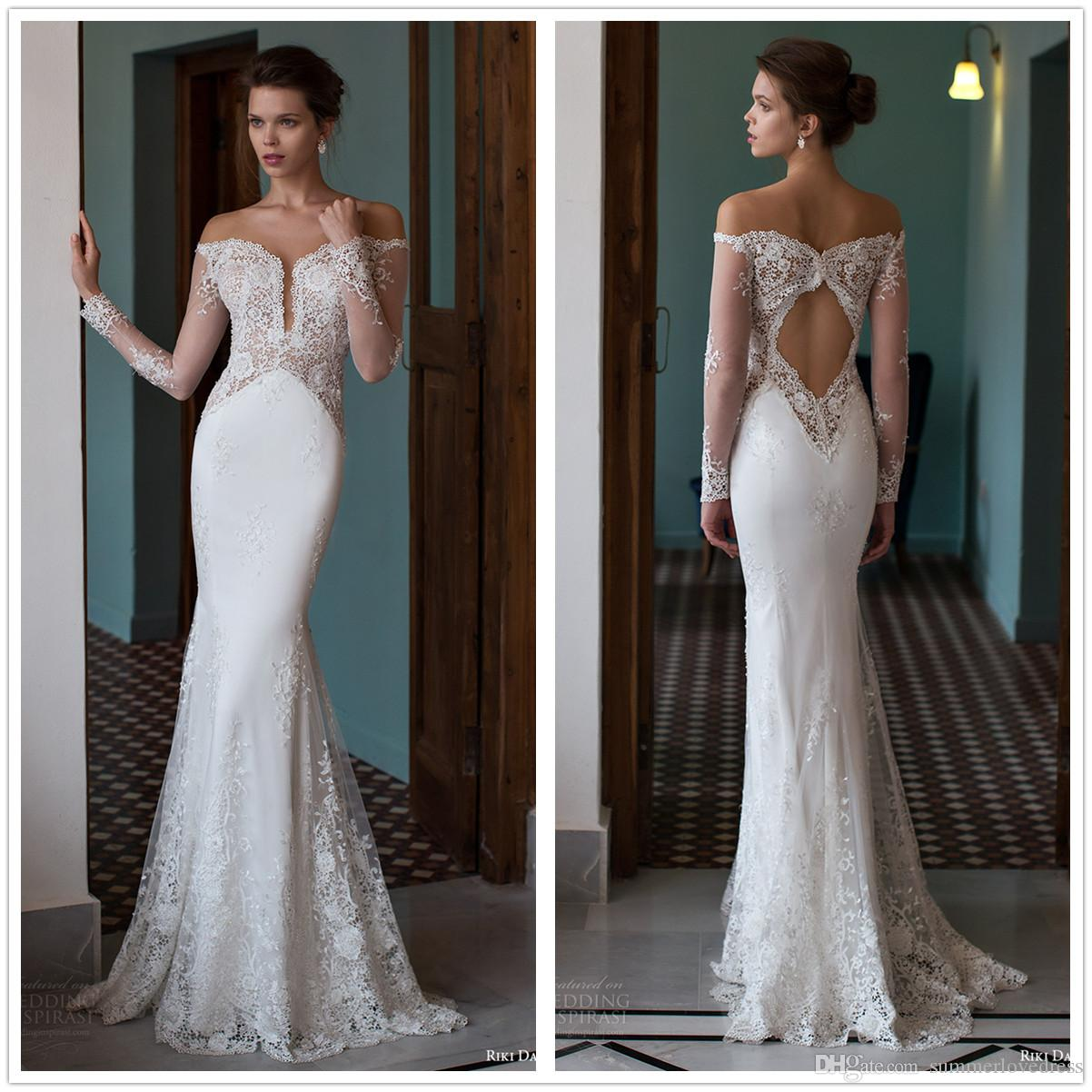Vintage Illusion Lace Mermaid Wedding Dresses Sheer Long Sleeves Tulle Applique Backless Floor Length Wedding Bridal Gowns