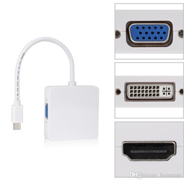새로운 3 in1 Thunderbolt Mini Displayport DP - HDMI DVI VGA 어댑터 디스플레이 포트 Apple MacBook Pro 용 케이블 Mac Book Air