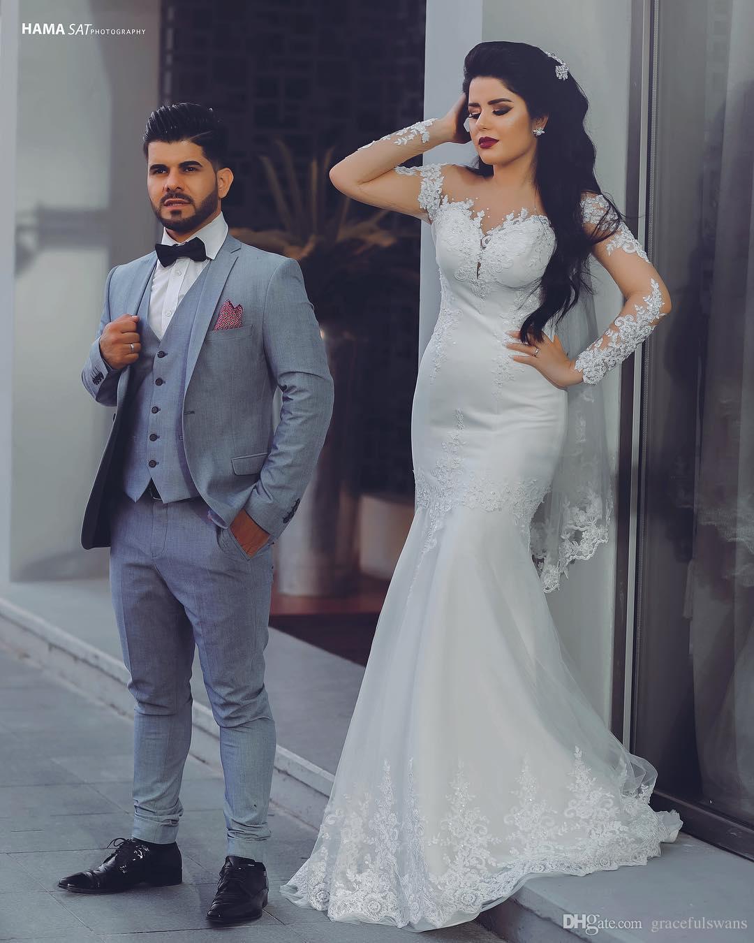 Русалка саудовский арабский свадебные платья с длинным рукавом иллюзия О-образным вырезом кружева аппликации с бисером современные свадебные платья vestidos де casamento