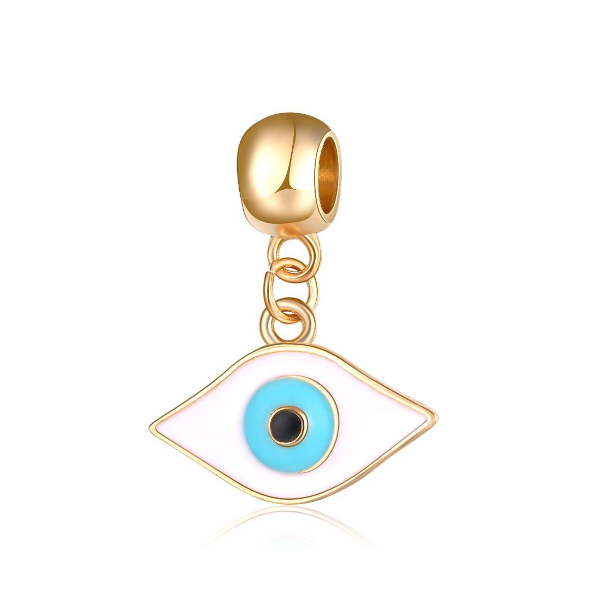Turquoise Blue Shell Heart Dangle Charm for Silver European Style Bead Bracelets
