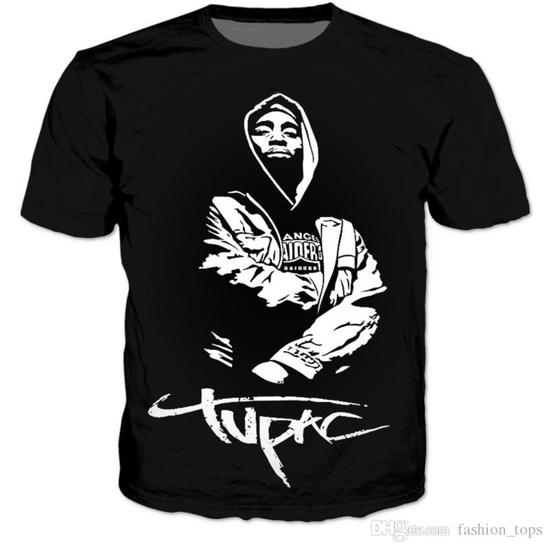 New fashion harajuku 3d t shirt donna / uomo hip hop supera it te 2pac tupac magliette estate casual tee shirts Taglia S-XXXL