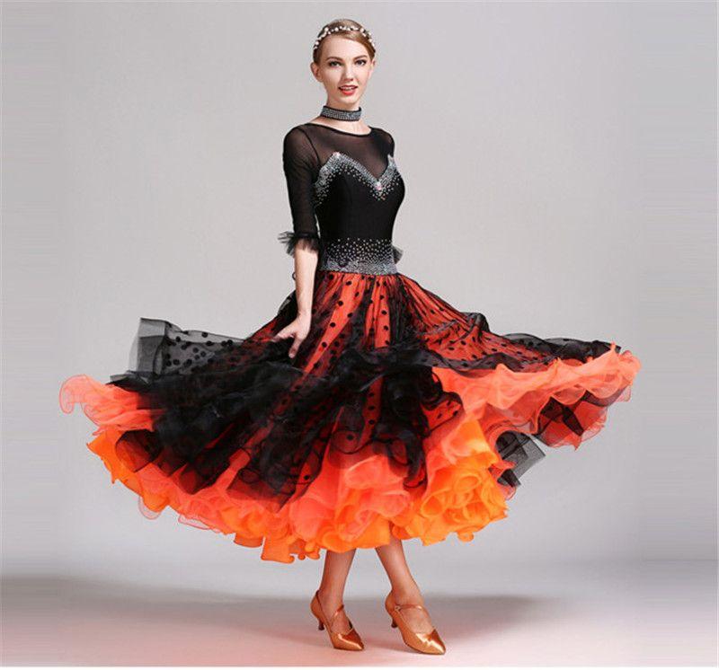 Neue Frauen Ballroom Dance Kleid Moderne Walzer Standard Wettbewerb Praxis Strass Dance Kleid Schwarz + Orange S-2XL YL011