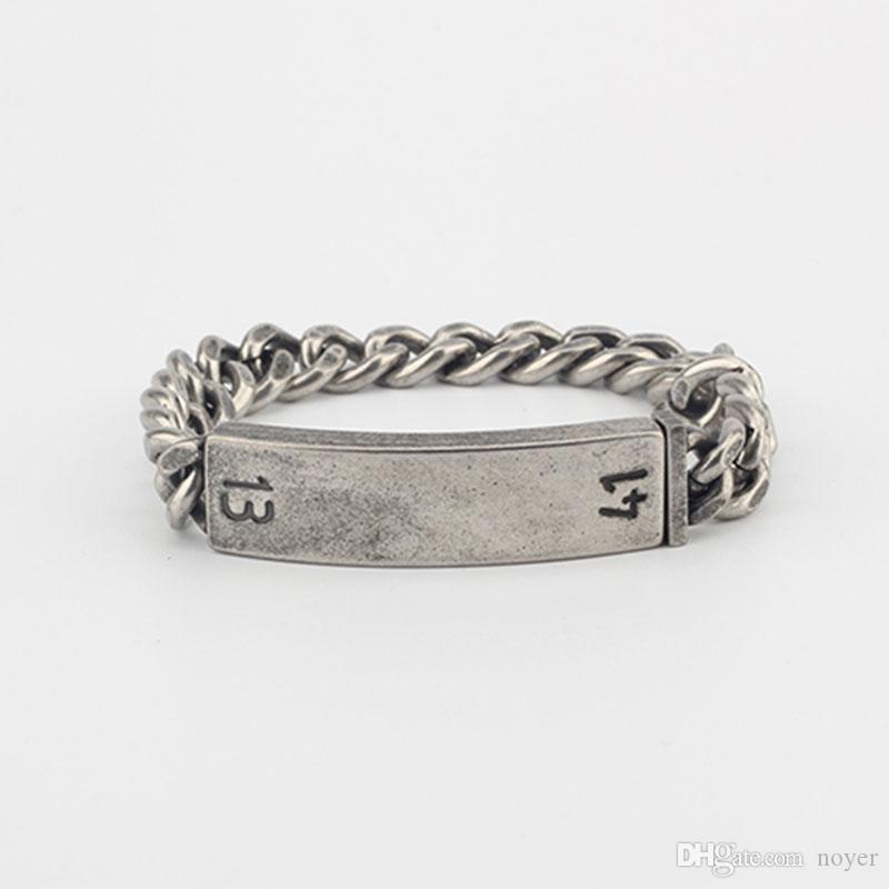 European and American style personality men and women old silver couple bracelet 1314 series trend tundane twist fashion steel link chain