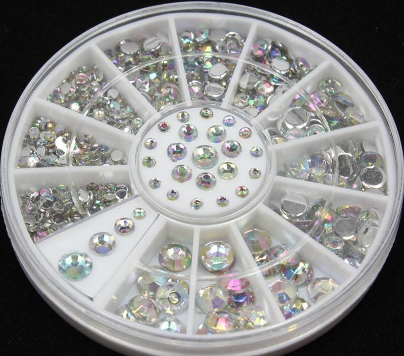 Wholesale- Blueness 2mm 3mm 4mm 5mm 3D Nail Art Decorations Tips Crystal Glitter Rhinestones For Nails DIY Charms Wheel Manicure ZP001