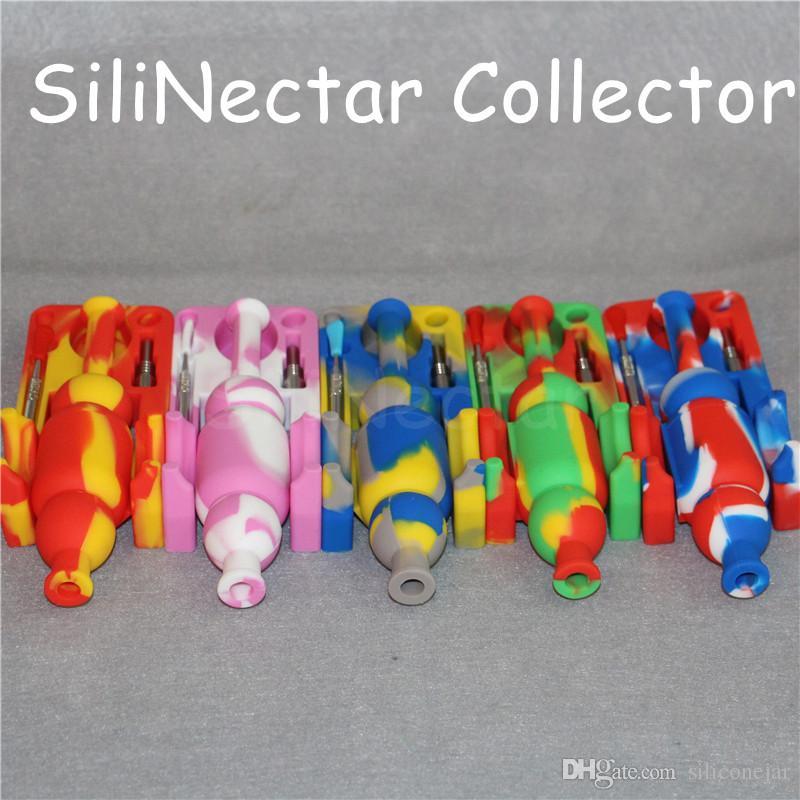 Kit de colector de néctar de silicona Puntas de colector de néctar con herramienta de titanio y dabber 10 mm colector de néctar plataformas petrolíferas bongs de vidrio Tubo de silicona