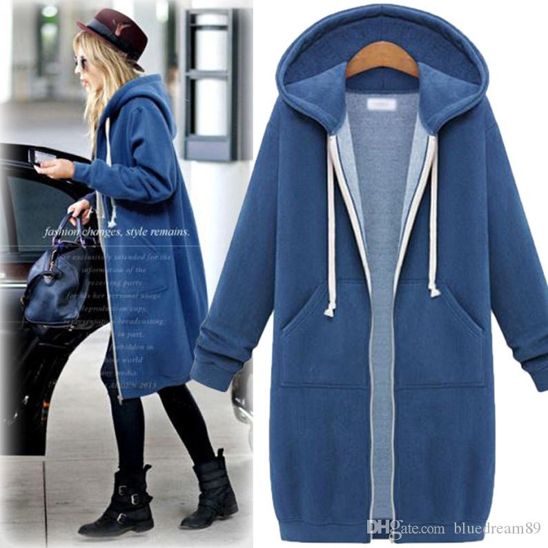 Koreanischen Stil Frauen Hoodies Sweatshirts Plus Size Hoodie langen Ärmeln Frauen Mäntel Winterjacke dicken und langen Mantel Hoddies für Frauen