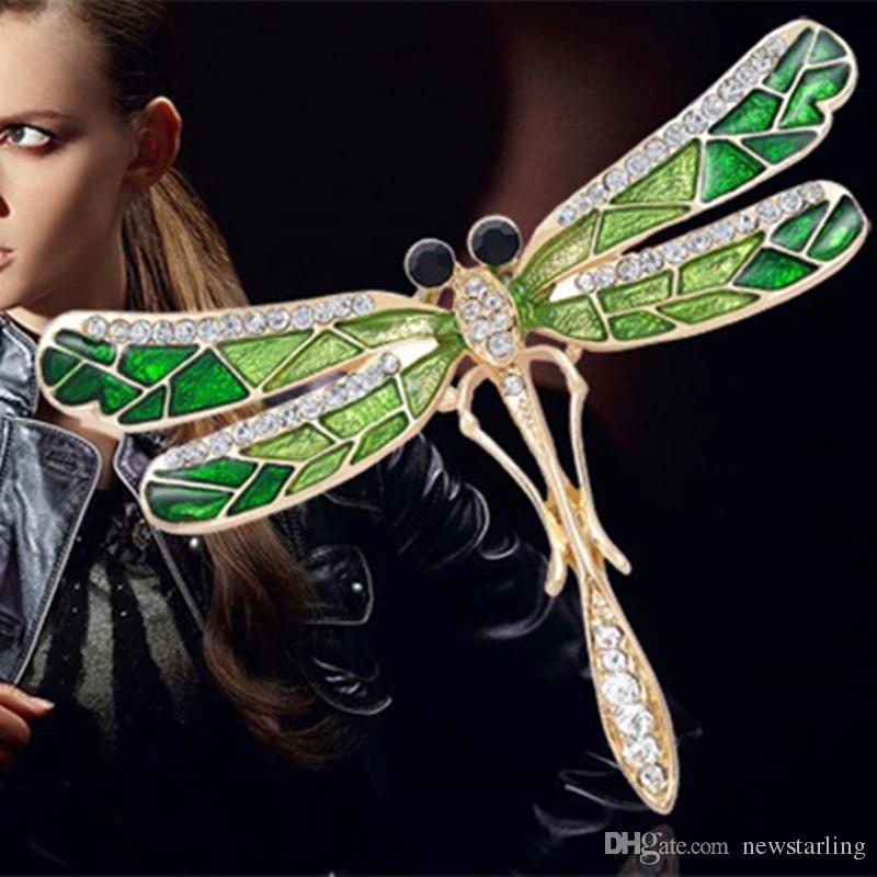 فتاة الموضة خمر جميل الصقل اليعسوب كريستال حجر الراين وشاح دبابيس الزينة شخصية الحشرات الملابس الديكور للنساء