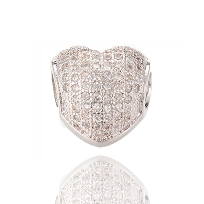 مايكرو تمهيد شكل قلب سحر غرامة مجوهرات فضة الخرز الحفرة الكبيرة الخرز صالح باندورا سوار ICPD018 Size11.9 * 11.8mm
