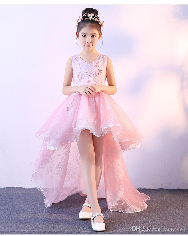 Wedding Flower Girl High Low Dress for Baby Kid Toddler Baptism Birthday Party