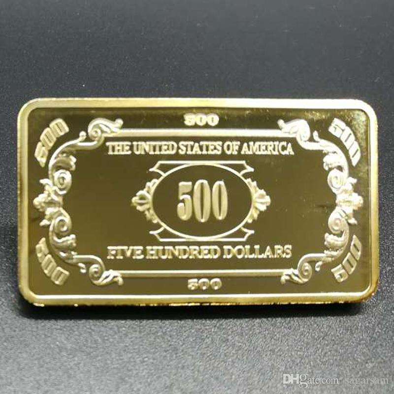 500 Dollar Gold Bar Gold Plated Home Decorative Metal Crafts Value Collection