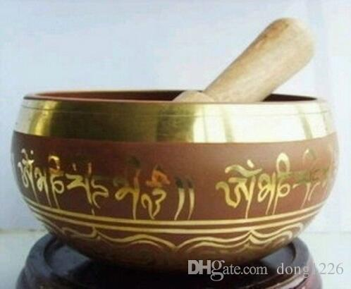 88mm Sammlerstücke Oriental Old Rare Super Om Tibetischen Ring Gong YOGA Schüssel Singen Antiken Garten Dekoration Silber Messing Klangschale