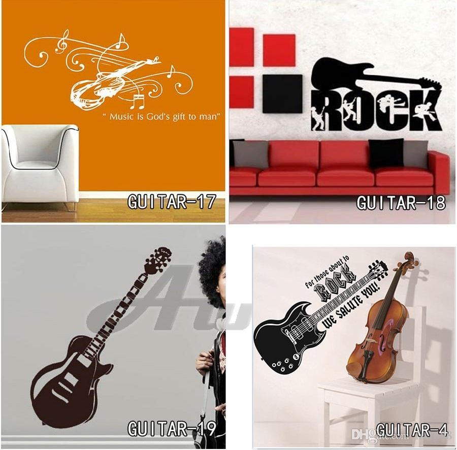 Guitar Wall Stickers Mural Home Decor DIY Musical Instruments Vinyl Decals For Living Room Free Shipping