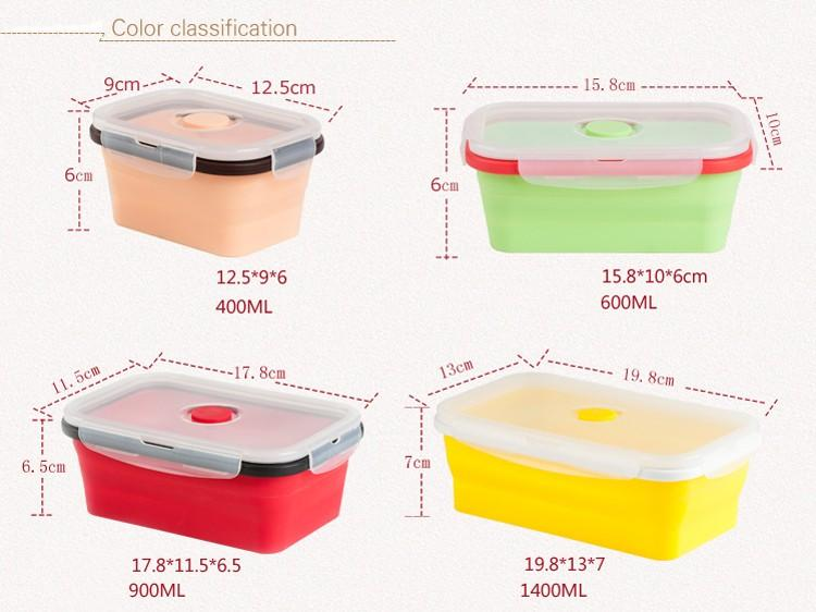 Best 4 Pack Food Storage Containers Silicone Collapsible Lunch Box
